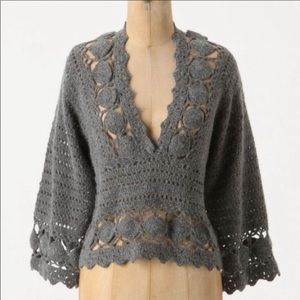 Knitted & Knotted Angora Wool Crochet sweater top